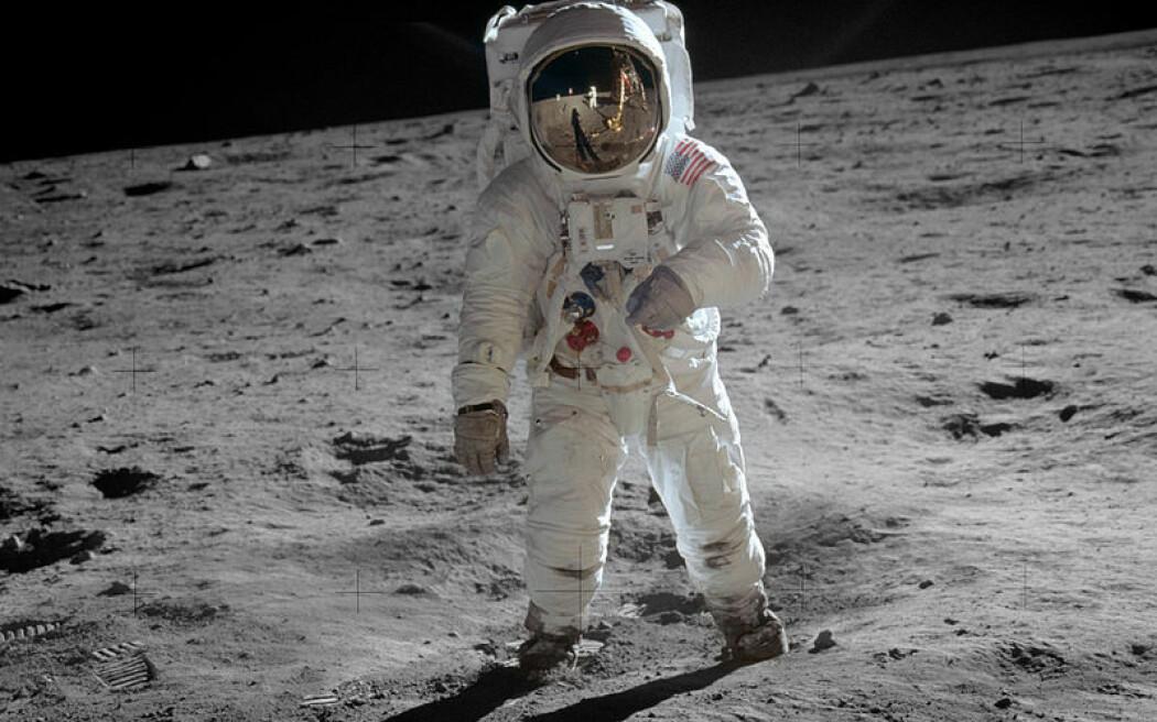 Buzz Aldrin på månens overflate i 1969, fotografert av Neil Armstrong.