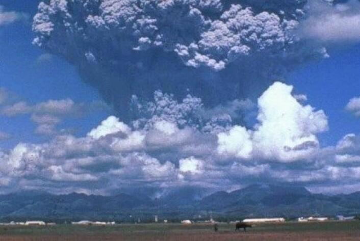 Her ser vi vulkanutbruddet fra Pinatubo i 1991, der 700 mennesker mistet livet. Utbrudd fra en supervulkan kan bli minst hundre ganger større. (Foto: Wikimedia commons)