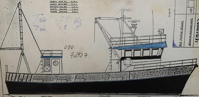 Teikning av fiskefartøyet «Morning Star», som fiska kveite på Porsangerfjorden hausten 1986 og 1987.