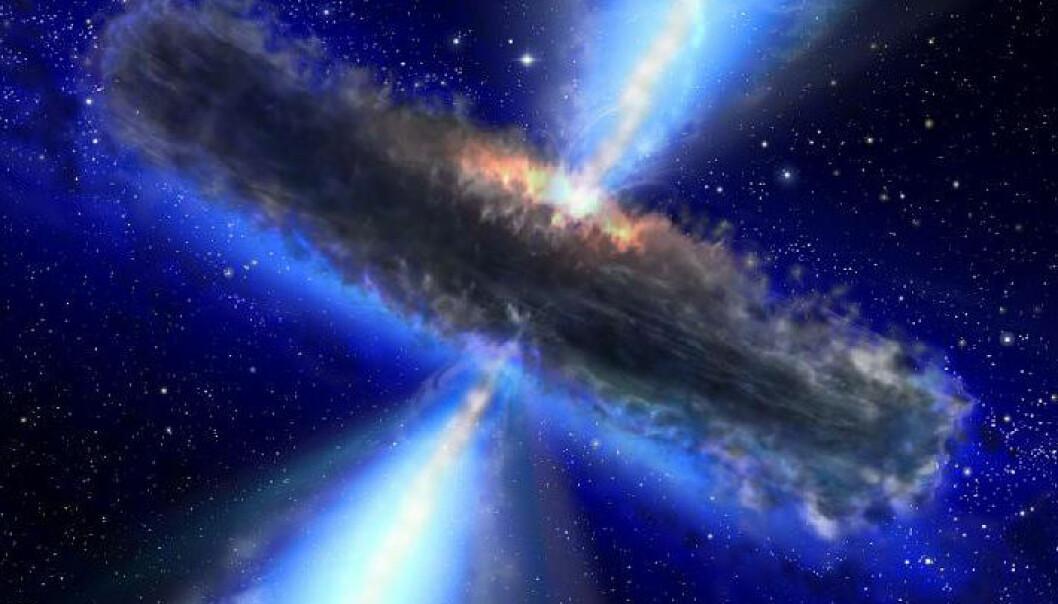 Slik kan man se for seg en kvasar som kan ligne den som inneholder vanndamp. (Illustrasjon: NASA/ESA)