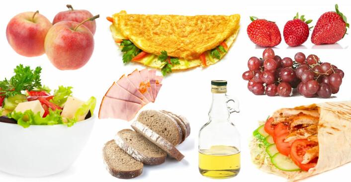 Her er en del av matvarene i dietten som NTNU-forskerne anbefaler til en gjennomsnittlig dame. (Foto: Colourbox)