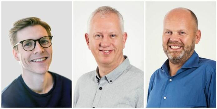 Tormod Rogne (t.v), Jan Kristian Damås og Erik Solligård er en del av forsksergruppen bak den nye studien.