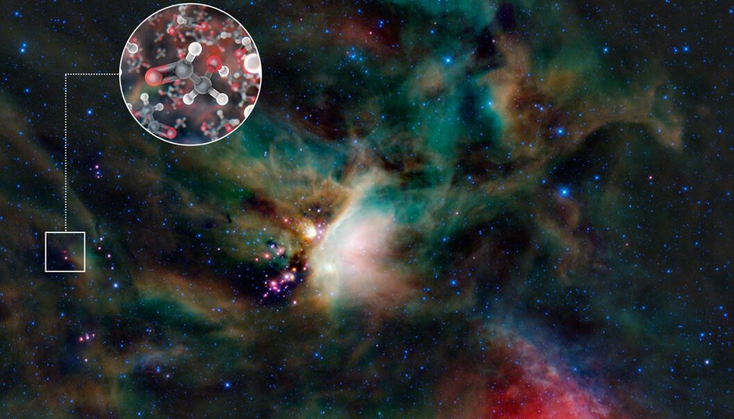 Dette er første gang sukker er funnet i gassen rundt en stjerne. (Illustrasjon: ESO)