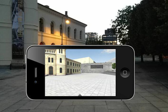 Slik kan du se det nye Nasjonalmuseet på Vestbanen når du laster ned appen på mobilen. (Foto: Fra den innebygde funksjonen i appen)
