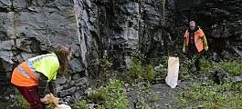 Undersøkjer kvaliteteten på stein til veg