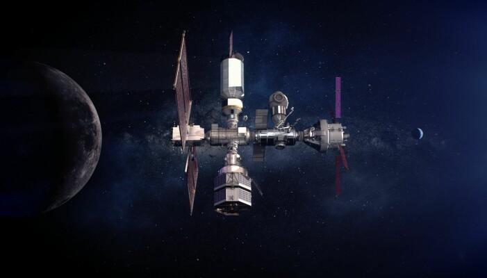 Illustrasjon som viser hvordan romstasjonen rundt månen kan se ut etterhvert.
