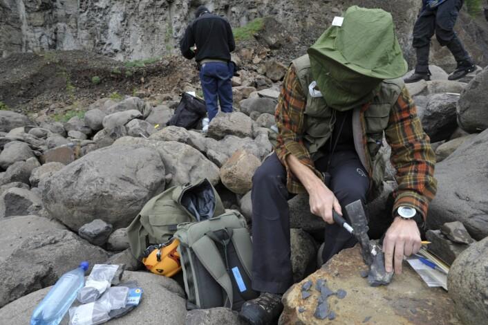 - Svaret ligger i stein, sier Geolog Henrik Svensen. Her i mygghatt på feltarbeid i Øst-Sibir. (Foto: Helge Hovland)
