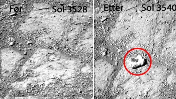 To bilete tatt med 12 Marsdagars mellomrom viser at det har dukka opp ein stein som ikkje var der tidlegare. Ein Mars-dag blir omtalt som Sol, og varer 24 timar og 39 minutt. (Foto: NASA)