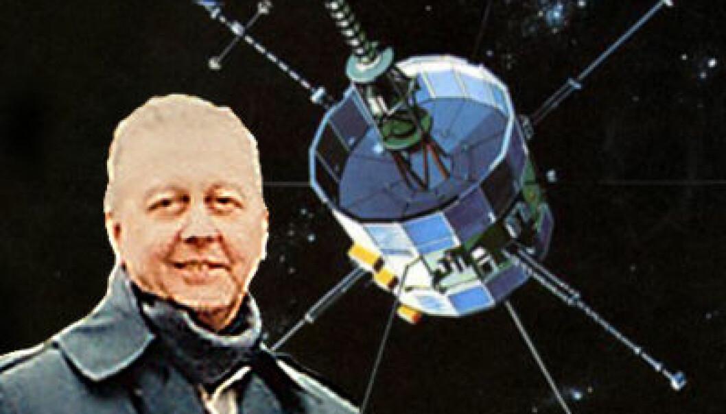Robert Farquhar og romsonden ISEE-3 også kjent som ICE. (Foto/illustrasjon: NASA)