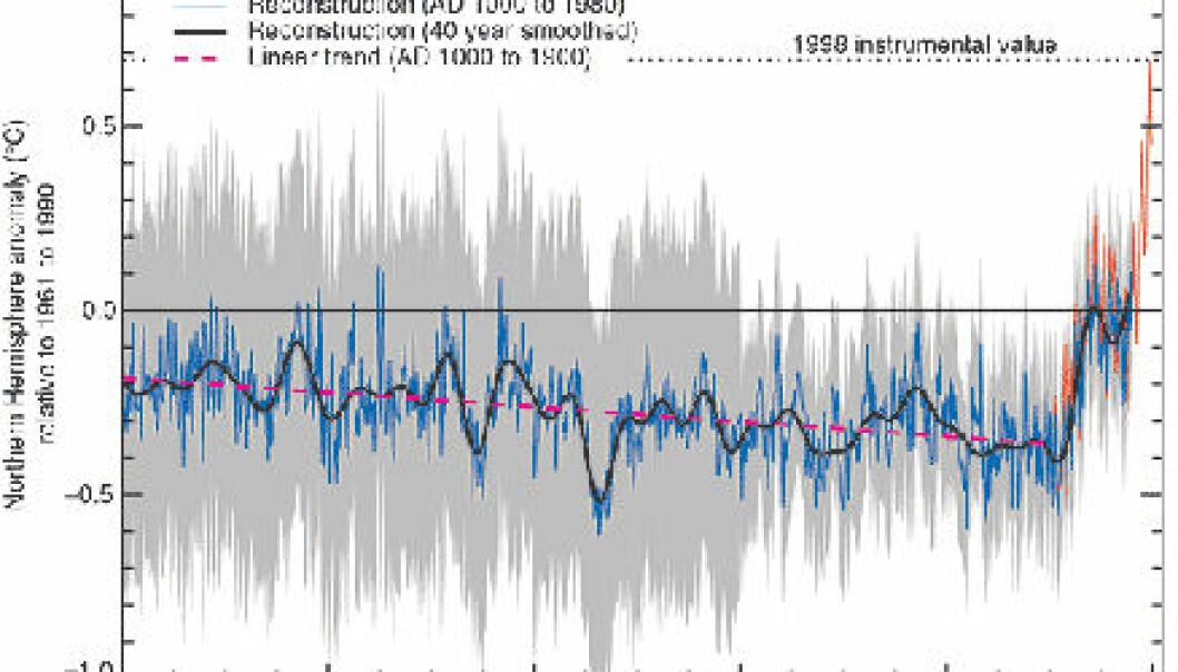 """""""Dette er den såkalte hockeykøllegrafen slik den fremstilles i IPCCs rapport fra 2001 (Third Assessment Report). De grå feltene representerer usikkerhet. Navnet har den fått fordi den ligner en liggende hockeykølle. (Illustrasjon: IPCC)"""""""