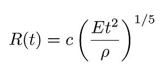 Denne likningen beskriver eksplosjoner som den i Beirut. Her er R(t) radien til eksplosjonsfronten, t er tid, E er energien, og den greske bokstaven ρ (rho) er lufttettheten. C er en konstant som er tilnærmet lik 1.