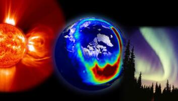 Når det stormer på sola blir det ekstra sterkt nordlys, som kan forstyrre satellittkommunikasjon og satellittnavigasjon. (Illustrasjon: NASA)