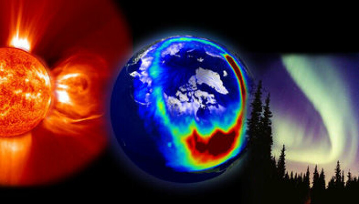 Når det stormer på sola blir det ekstra sterkt nordlys, som kan forstyrre satellittkommunikasjon og satellittnavigasjon. Illustrasjon: NASA