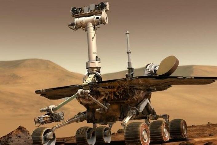 Mars-roveren Opportunity oppdaga den mystiske steinen i eit område kalla 'Cape Darby' på kanten av Endeavour-krateret. (Foto: NASA/JPL-Caltech)