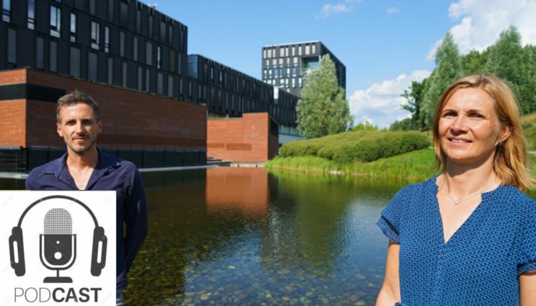Alfredo Jornet Gil og Åse Bergundhaugen diskuterer det nye tverrfaglige emnet bærekraftig utvikling.