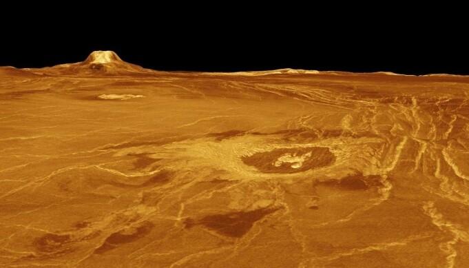 Deler av overflaten på Venus, sett med radar av sonden Magellan i 1989