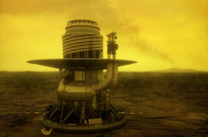 Slik ser en kunstner for seg at Venera 13-landeren til Sovjet så ut på Venus-overflaten. Den overlevde i rundt to timer.