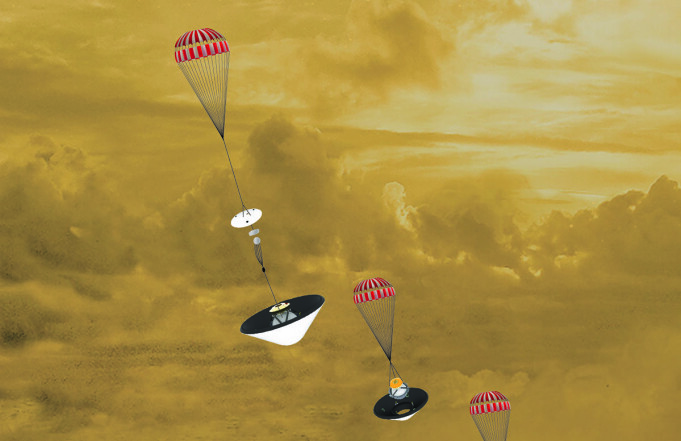 Slik kan Davinci-sonden se ut på vei i flere stadier ned i Venus-atmosfæren.