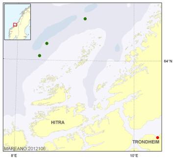 Kartet viser hvor de tre nye korallrevene er observert. (Foto: (Kart: Kjell Bakkeplass/Havforskningsinstituttet))