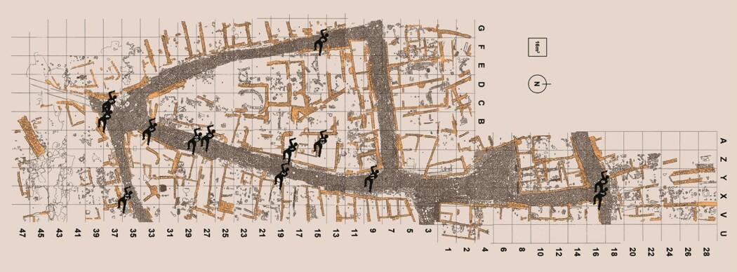 Utdrag av et kart fra studien, som viser hvor ofrene ble funnet i oldtidsbyen La Hoya.
