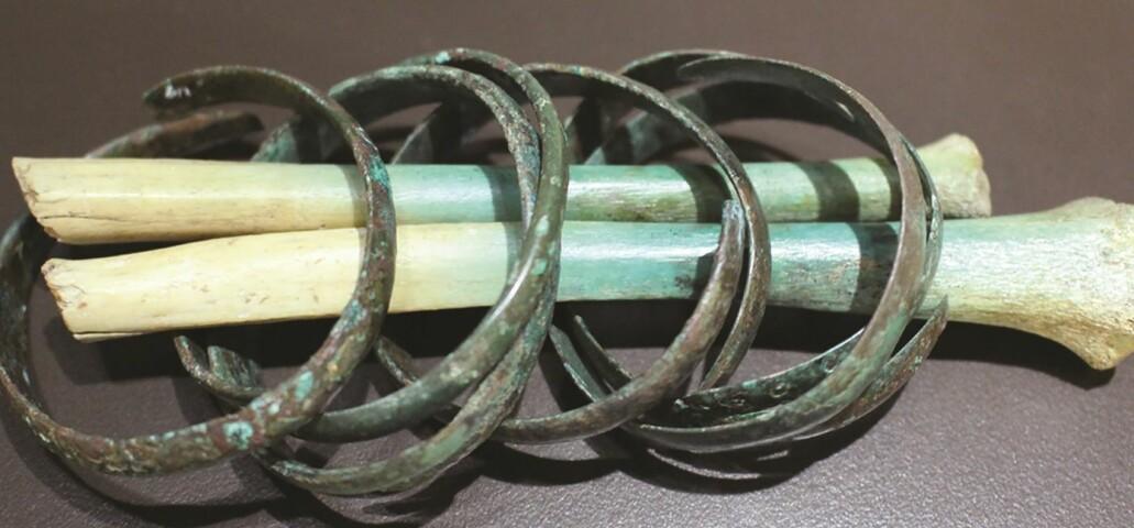 Forskerne fant blant annet en avkappet arm som fortsatt hadde armbånd av metall rundt seg.