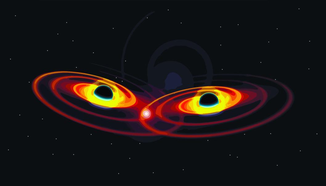 Gravitasjonsbølger kan blant annet oppstå når to svarte hull kolliderer.