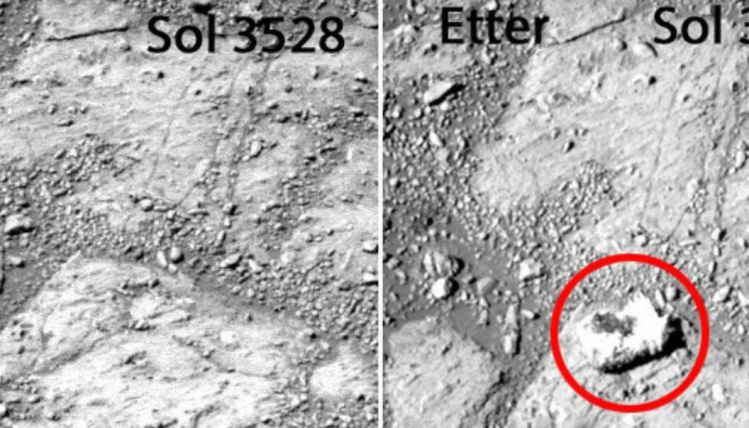 To bilete tatt med 12 Marsdagars mellomrom viser at det har dukka opp ein stein som ikkje var der tidlegare. Ein Mars-dag blir omtalt som Sol, og varer 24 timar og 39 minutt. NASA