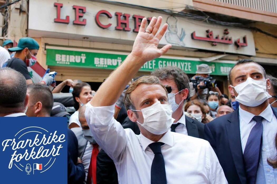 Frankrikes president Emmanuel Macron besøker Beirut etter den enormt ødeleggende havneeksplosjonen i August i år.