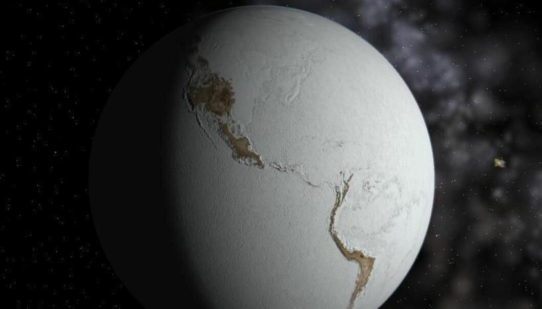 Geologiske spor tyder på at jorda har vært dekket av is til polene. Kontinentene var ikke på samme plass som vises på dette bildet.