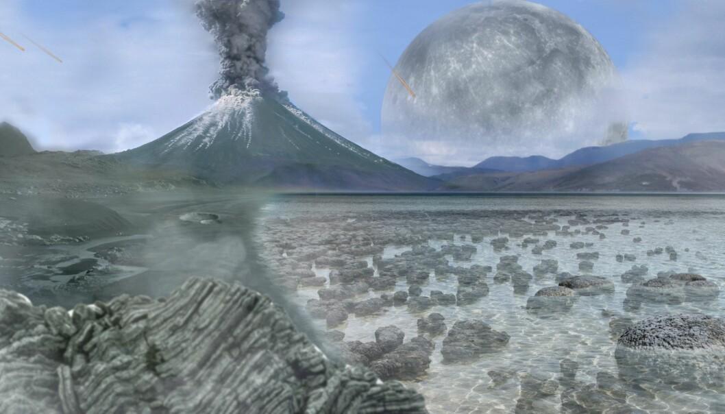 En kunstners framstilling av jorden i det eldste eonet arkeikum, som begynte med jordens dannelse for 4,6 milliarder år siden og sluttet for 2,5 milliarder år siden.