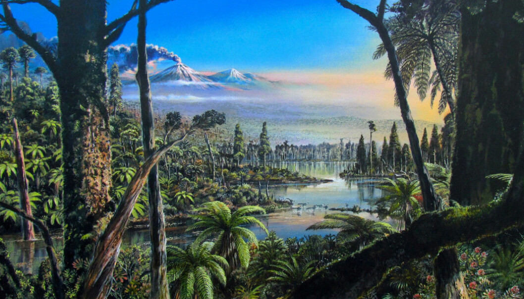 Illustrasjonen viser hvordan det kan ha sett ut i Antarktis for 90 millioner år siden.