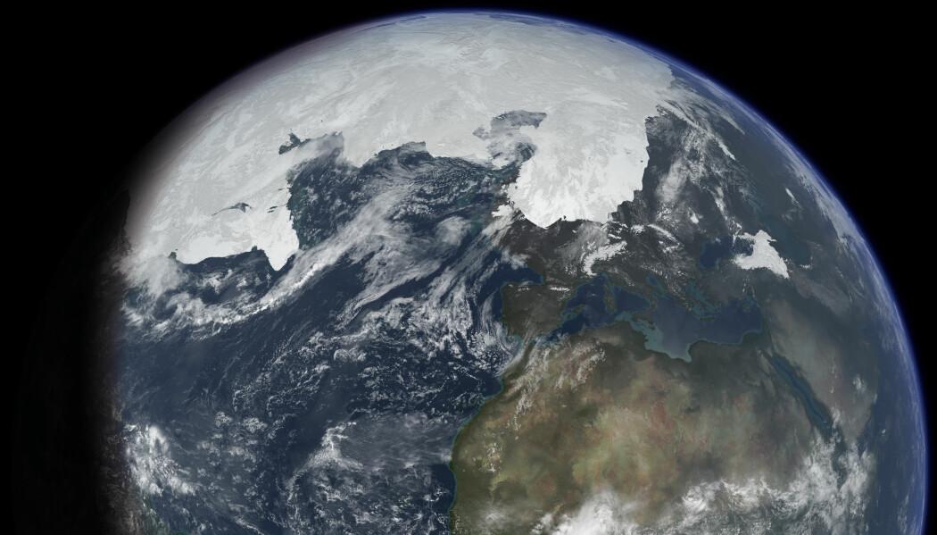 En framstilling av jorden under siste istids maksimum for 20 000 år siden. Mye av Nord-Europa lå under is.