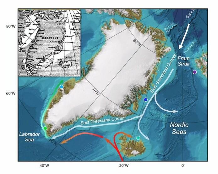 Kartet viser havstraumen langs austkysten av Grønland, som også i dag fraktar store mengder sjøis ut frå Arktis. Dei farga prikkane på kartet viser kvar sedimentkjernene som ligg til grunn for dette studiet er henta frå.