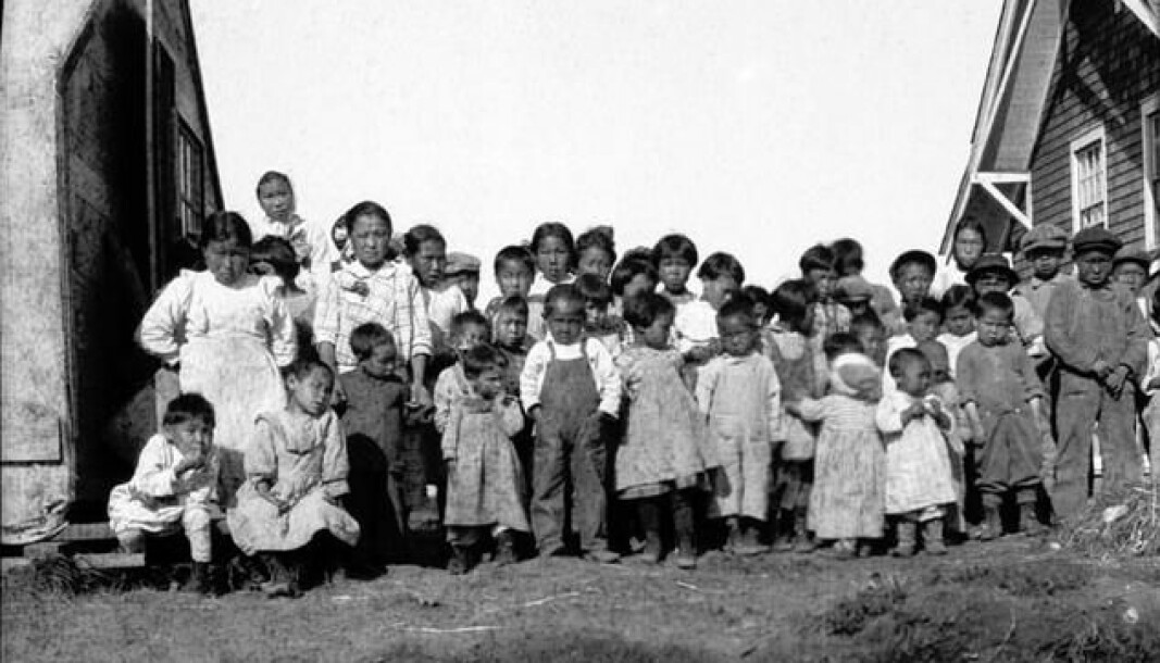The influenza pandemic hit the native communities in Alaska hard. These children in an orphanage in Nushagak, Alaska, lost their parents. Summer of 1919. Source: Alaska Historical Library.