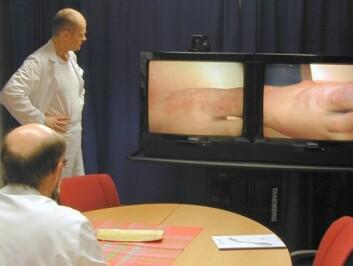 Hudleger ser på et tilfelle over videokonferanse. (Foto: NST)