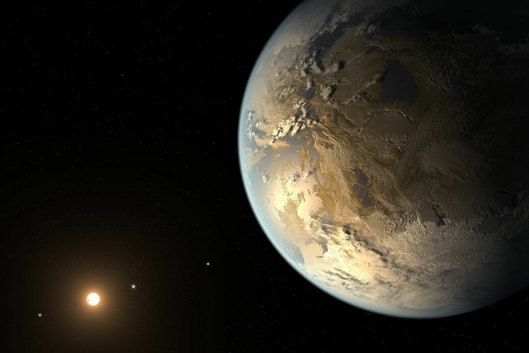 Ingen vet helt hvordan en annen planet med liv kunne se ut. Bildet viser hvordan en kunstner har forestilt seg en slik planet.