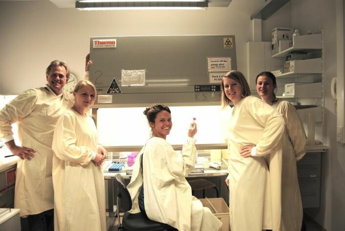 Professor James Lorens sammen med fire av hans PhD-stipendiater. Fra venstre Katarzyna Wnuk-Lipinska, Henriette Ertsås, Fanny Pelissier og Crina Tiron. Foto: Sissel Dyrstad, UiB.