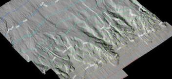 Multistråledata viser skredgroper i nedre del av kontinentalskråningen. (Illustrasjon: NGU)