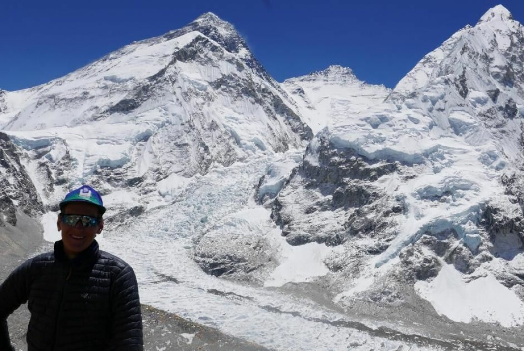 The Khumbu Icefall is constantly flowing fast. Here seen from the southern side, just above base camp, with the Norwegian climber Didrik Dukefoss in front.
