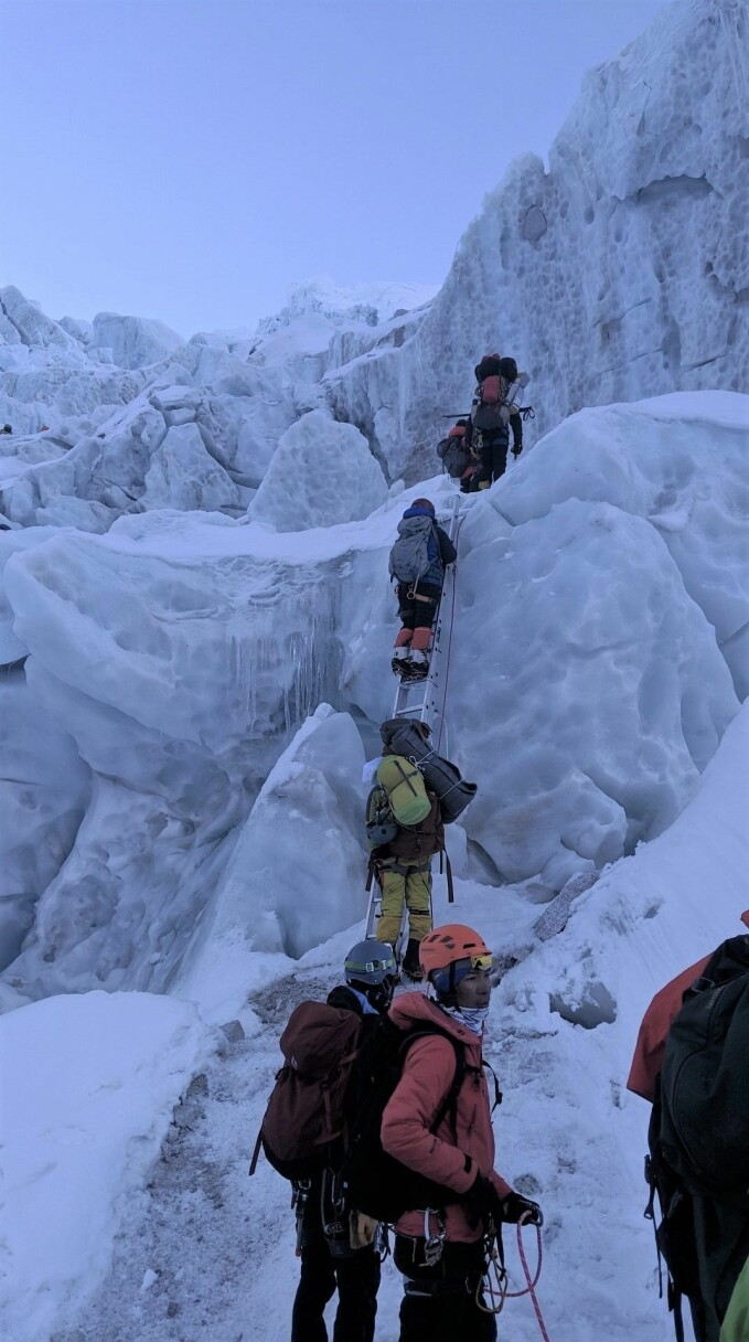 The climbing route through the Khumbu Icefall is compose of fixed ropes and ladders. The icefall is considered one of the most dangerous stages of the Nepal route to Mount Everest's summit.