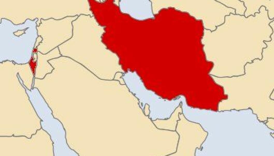 Israel og Iran uthevet i rødt (Bilde: Vardion/Wikimedia Creative Commons/forskning.no)