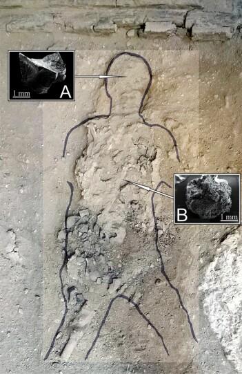 Bilde av levningene forskerne har sett på. Da mannen tenkte sine siste tanker, slukte Vesuv-utbruddet huset han var i.