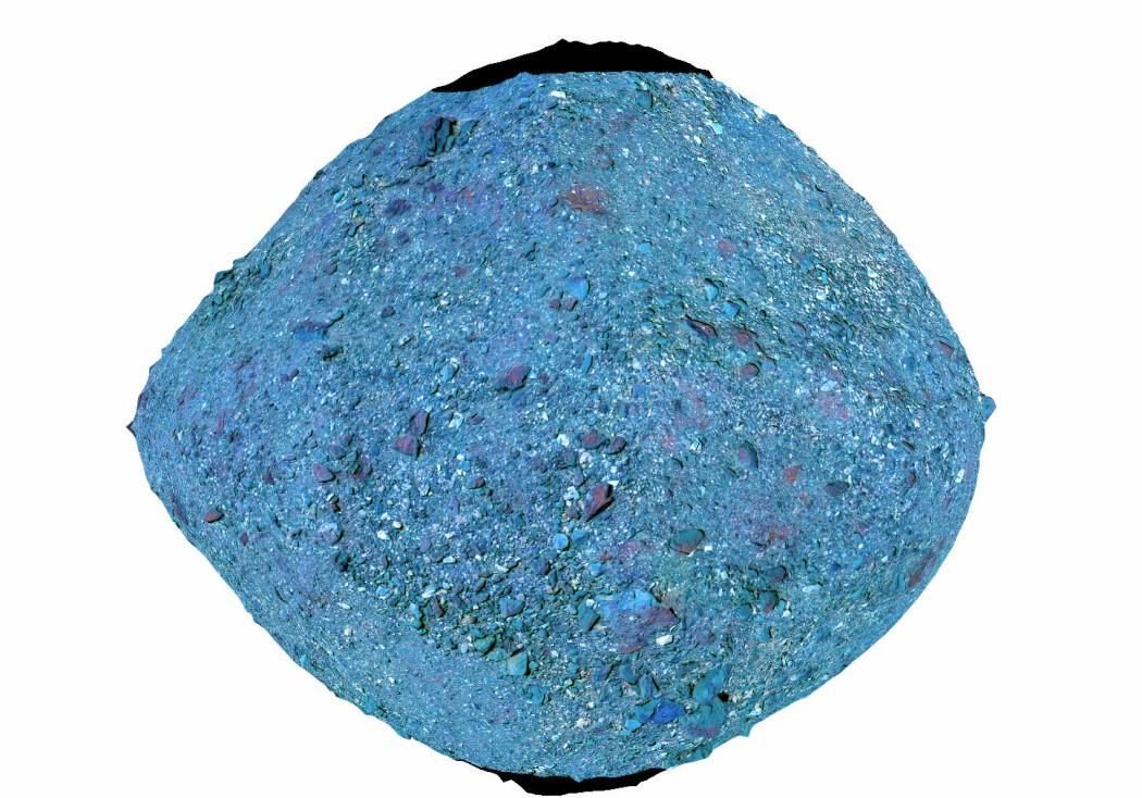 Dette er et bilde av asteroiden i falske farger, som viser forskjellige typer mineraler på overflaten.