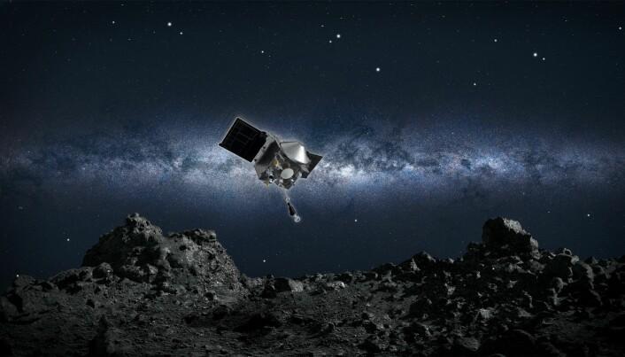 Slik ser NASA for seg at det kan se ut når sonden går ned for å ta en prøve. Sonden er på størrelse med en stor bil.