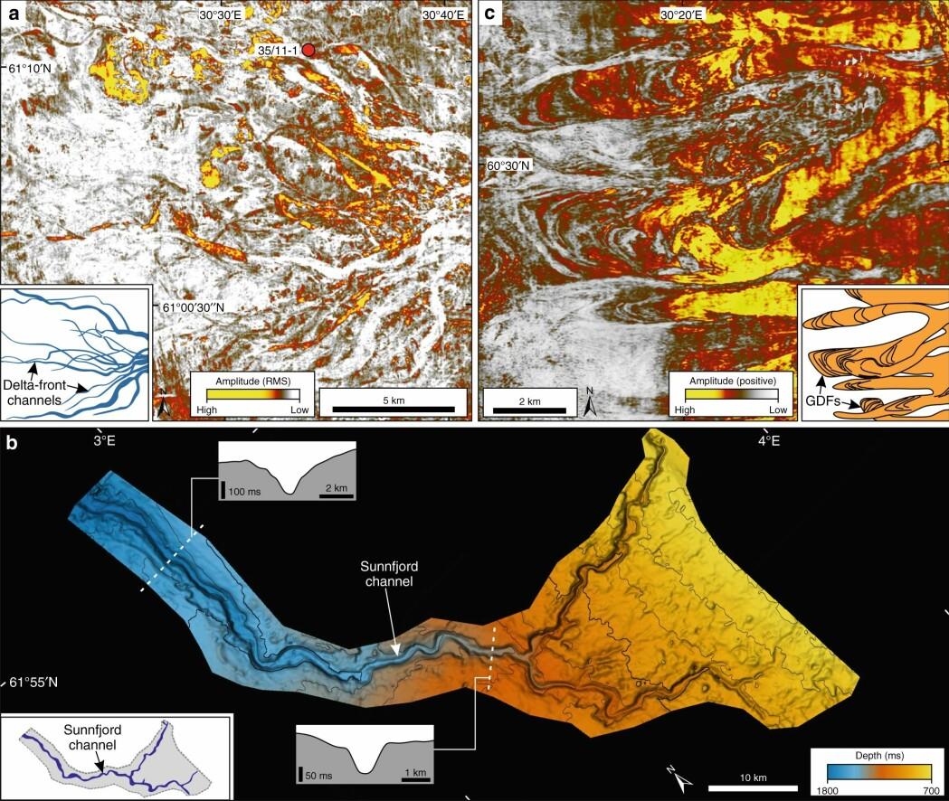 På land i Norge ser vi resultatet av istidene. Men på havbunnen i Nordsjøen finnes det mye bedre spor etter hva som egentlig hendte under istidene. Fra den nordlige delen av Nordsjøen har forskerne nå fått nye og fantastiske 3D-bilder. Oppe til venstre ser du deler av et stort elvedelta utenfor Sognefjorden, skapt rett før begynnelsen av istidene. Til høyre ser du sedimentmasser bre seg utover på kontinentalsokkelen. Nederst ser du hvordan den store smeltevannselven som rant ut fra Sunnfjord nord på Vestlandet, har skapt den over 100 kilometer lange undersjøiske Sunnfjordkanalen, også det helt på begynnelsen på istidene.
