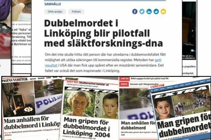 Et dobbeltdrap i Linköping i 2004 var uløst i 16 år, før rettsmedisinere klarte å ringe inn gjerningsmannen ved hjelp av DNA-søk i slektsforskningsdatabaser. Han ble arrestert i juni i år, og var tidligere utstraffet.