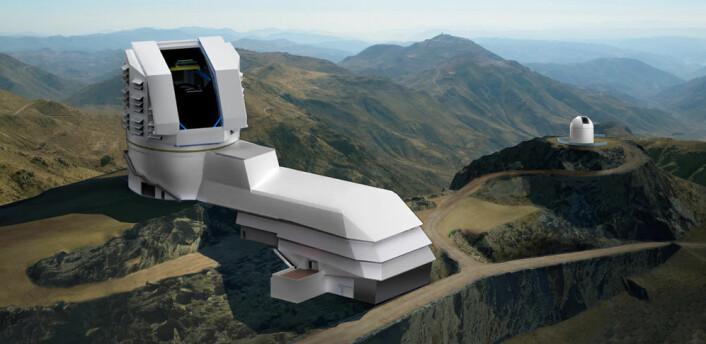 Large Synoptic Survey Telescope (LSST) skal bygges sør i Atacama-ørkenen i Chile. Det åtte meters speilet skal brukes til å lage et lyssterkt bilde av et relativt bredt synsfelt på 3,5 grader, tilsvarende 7 måneskiver ved siden av hverandre. (Illustrasjon/foto: LSST Corporation)