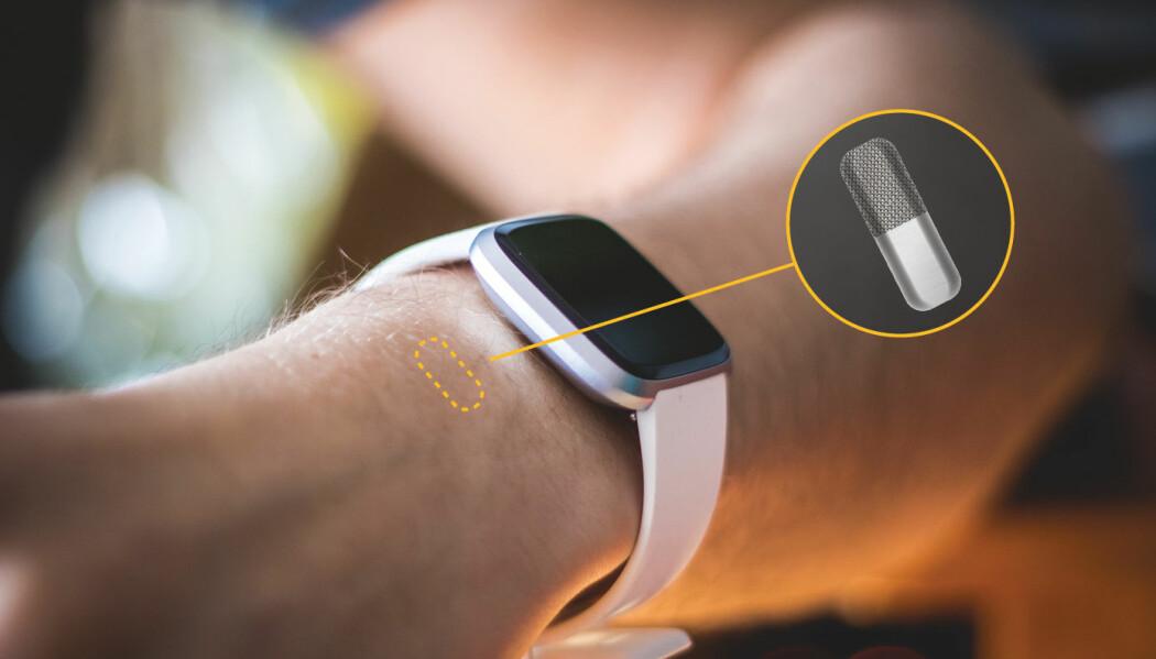 Sensoren skal sprøytes inn rett under huden. Derfra skal den sende informasjon om blodsukkeret til for eksempel en smartklokke.