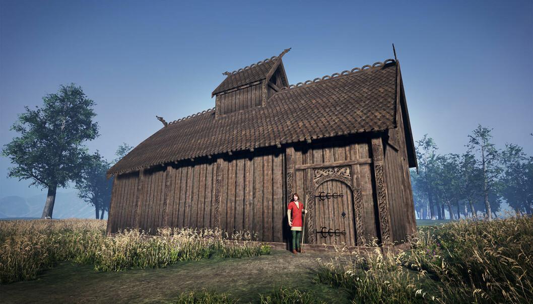 Inne i et bygg som dette kan guder som Odin og Tor blitt hedret. Denne rekonstruksjonen er beskjeden, ettersom forskerne vil vente til en tydeligere datering foreligger.