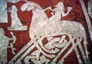 Odin på Sleipner avbildet på en norrøn billedstein fra Gotland. (Foto: (Illustrasjon: Wikimedia Commons))